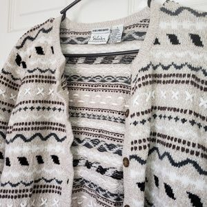 CJ Banks Hand Embroidered Button Down Sweater